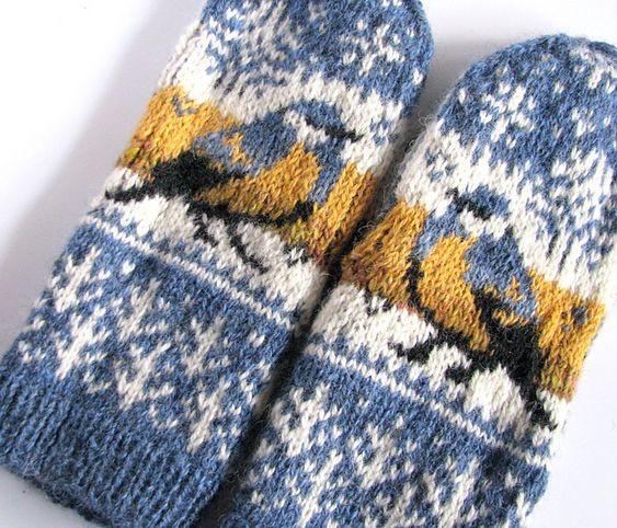 jacquard moufle tricot